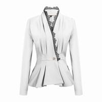 küçük dantel hırka toptan satış-Pydownlake Bahar Sonbahar V Boyun Blazer Kadın Ince Dantel Patchwork Blazer Kadın Hırka OL Çalışma Küçük Takım Elbise Ceket Düğme Ceket Tops