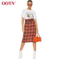 falda larga de cuadros rojos al por mayor-OOTN Vintage Falda A Cuadros Rojo Con Cinturón Alto de Cintura de Verano de Las Mujeres Falda Midi Oficina Señora Gingham Señoras Faldas Largas Delgadas 2019 Moda