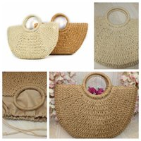 Wholesale hand bags resale online - Round moon shaped Straw Totes Bag Hand Woven Beach travel party Bag Large Bucket Summer Bags Women Natural Handbag FFA1906