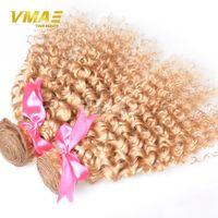 renk 27 kıvırcık toptan satış-VMAE Brezilyalı Sarışın Kıvırcık Saç Uzantıları Bal Sarışın İnsan Saç Dokuma 3 ADET Renk 27 Kinky Kıvırcık Sarışın Bakire Saç