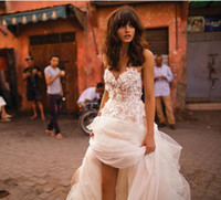 loja de noiva em renda venda por atacado-Vestidos de casamento Spaghetti saia em camadas Backless Plus Size Elegant Garden País Criança vestidos de noiva Liz Martinez praia com florais 3D