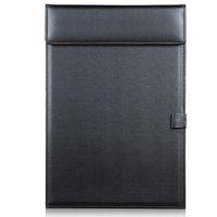 черная кожаная папка оптовых-Оптово-Магнитный офисный рабочий стол из натуральной кожи А4 Скрепка для бумаги Папка для рисования Записная доска для планшета Планшетный планшет с держателем для ручки Черный A206