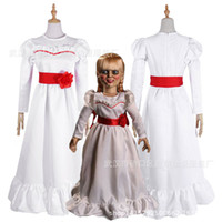 vestidos extravagantes para mulheres venda por atacado-Costumes Mulheres Criança Kid Halloween ConjingDoll Annabelle vestido branco Horror Feminino assustador desgaste Cosplay Fancy Dress trajes de Mascote