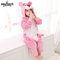 Wholesale cute pink panther for sale - Group buy Pink Animal Kugurumi Panther Onesie Kids Child Sleepwear Funny Jumpsuit Winter Warm Pajama Cute Overalls Carnival Party Outfit T200111