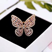 14k kelebek yüzük toptan satış-Yüzükler lüks tasarımcı takı kadınlar yüzük Parlak Zirkonyum ayarı ile moda kelebek altın kaplama yüzük takı NE1053
