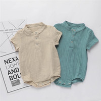 Wholesale french terry jumpsuit for sale - Group buy New Summer Toddler Baby Boys Rompers INS Cotton Short Sleeve Front Button Blank Jumpsuit Kids Bodysuit Baby Romper M