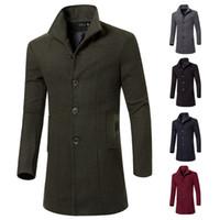 f91 moda venda por atacado-Primavera e Outono Novo estilo Moda Cor Pura lapela casaco longo médio dos homens de lã Wondercoat F91