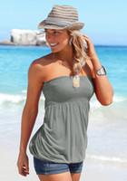 gefaltete röhrenspitzen großhandel-Womens Urlaub trägerlosen Plissee Tube Top Shirt Halter verdreht Tank Top Bluse DHL