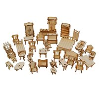 34PCS Wooden Doll House Dollhouse Furnitures Miniature Models DIY Accessories Cx