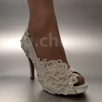 abra a mulher do laço do dedo do pé venda por atacado-Tamanho grande rendas vestido sapatos de pérola flor dedo do pé aberto sapatos De Noiva Do Casamento das mulheres sapatos de bomba
