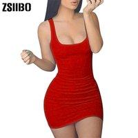 Wholesale sexy dresses drop ship for sale - ZSIIBO Women s Casual Summer Sleeveless Mini Sexy Bodycon Tank Club Dress low neck drop shipping