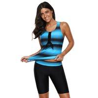 düz göğüs toptan satış-Yeni Ekleme Yuvarlak yakalı Kolsuz Renkli Şerit Göğüs Pedi Toplama Yüksek bel Düz açılı Pantolon Bölünmüş kadın Yüzme