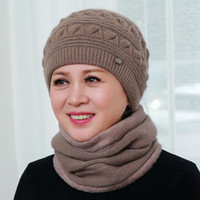 b6814ed277e Hat Cap Neck Warmer Bonnet Skullies Knitted Thick Fashion Warm Soft Knitted  Beanies Acrylic Casual Female Winter Hats for Women