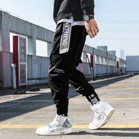 koşu pantolonu korece toptan satış-Adam Kargo Pantolon Streetwear Joggers 2019 Hip Hop Kore Sweatpants Erkek Harajuku Eski Modası Pantolon