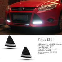ford fokus nebellicht geführt großhandel-ECAHAYAKU Für Ford Focus 3 MK3 2012 2013 2014 DRL-Tagfahrlicht LED-Tageslicht-Nebelscheinwerfer wasserdicht mit dimmendem Stil Relais