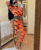 kadınlar seksi boyun üstleri toptan satış-2019 Yüksek Sokak Seksi Şerit fermuar ekleme Iki Parçalı Set 2019 kadın V Yaka Mektubu Baskı Eşofman Kısa kollu Tops + Pantolon Sporting Suit