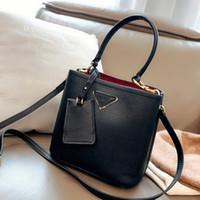 Wholesale p letters resale online - Fashion Woman Bags Travel Luggage Bag Fannypack Fashion Plain P Letter High Quality Women Crossbody Bucket Bag Genuine Leather