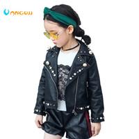 sıcak kız motosiklet toptan satış-2017 sonbahar kış sıcak çocuklar PU ceket, 2-7 yaşındaki bir kız moda Yaka inci deri motosiklet deri ceket