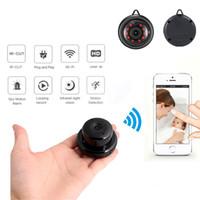 ip kameralar kablosuz küçük toptan satış-Ev güvenlik mini wifi 1080 p ip kamera kablosuz küçük cctv kızılötesi gece görüş motion algılama sd kart yuvası ses app