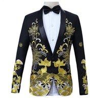 chinesische blumenjacke großhandel-Mens Pattern Blazer Mäntel im chinesischen Stil Floral Fisch Stickerei Blazer Männer Schal Kragen männliche Bühne tragen Prom Blazer Jacken