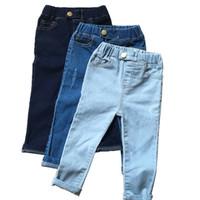 niños jeans niñas años al por mayor-2018 New Autumn Jeans Girls Kids Cotton Skinny Children Pants Toddler Black / Blue Washed Jeans para 1-6 años Moda Niños Ropa