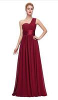 bir omuzlu gelinlik toptan satış-Şifon Bir Omuz Gelinlik Modelleri 2019 Bordo Mor Şifon Düğün Parti Elbise Dama De Onur Abiye