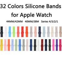 pembe kol saati toptan satış-32 Renkler Koyu Zeytin / Gül Kırmızı / Kakao / Pembe Kum Silikon Kayış Apple Watch Band Için 44mm / 42mm 40mm / 38mm Serisi 4/3/2/1