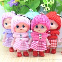 Wholesale hand plush baby toys resale online - Kids Toys Soft Interactive Wear Hat Baby Dolls Keychain Wedding Toy Small Pendant Car Decoration Confused Dolls Stuffed Toys