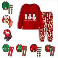roupa de dormir de papai noel venda por atacado-Christmas Baby Tema Pijama Suit Meninos dos desenhos animados Papai Noel listrado Casual Roupas crianças meninas roupas casa Pijamas Pijamas LJJA3244-1