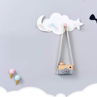 Wholesale moon stars wall decor resale online - Star Moon Home Wall Hanger Cloud Shape Hook Clothes Nail free Hanging Self Adhesive Storage Organizer Decor Accessories
