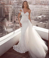 Wholesale line mermaid strapless wedding dresses resale online - 2020 One shoulder Mermaid wedding dress lace Sequin wed dress Backless Natural Pleats Wedding dress
