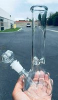 Wholesale 9inch Glass Hookah Shisha Water Smoking Pipes Beaker w ICE catcher Bubbler Recycle Clear Glass Bong with mm Glass Bowl Downstem