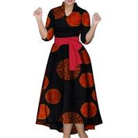 платья выпускного вечера в африканском стиле оптовых-Африканские платья для женщин с половиной рукавов Африканские платья с принтом Лодыжки с принтом Мода Стиль Длинные платья для выпускного вечера