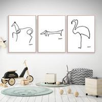 quadro minimalista venda por atacado-Picasso Animais Abstratos Pintura sobre Tela, Modern Giclee Arte Da Parede Da Lona Impressão Preto Branco Cartaz Minimalista 3 pçs / set Sem moldura