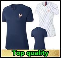 camisetas de fútbol de tailandia negro rojo al por mayor-2019 Francia MBAPPE GRIEZMANN POGBA mujeres Camiseta de fútbol Azul marino Camisetas de fútbol de LEMAR Equipe coupe 2018 kit de niña maillot de foot