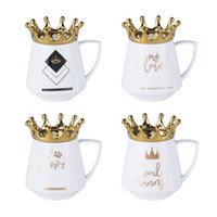 Wholesale lovers mug gifts for sale - Group buy 305ml Nordic Ceramic Cup Creative Lovers Coffee Mug With Crown Lid Drinking Coffee Tea Cup Office Gifts