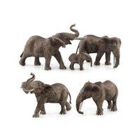 plastikelefanten spielzeug großhandel-GEEK KING Animal World Zoo Tiermodell Spielzeug Figur Aktion Spielzeug Simulation Tier Schöne Kunststoff Elefant Spielzeug für Kinder