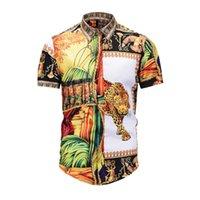 fantastische farbhemden großhandel-2019 Herrenhemd Französisch High Street Luxury Fashion Harajuku Fashion Freizeithemd Herren Medusa Schwarz Golden Leopard Color Fancy Slim