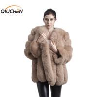 продажа длинных зимних пальто девочек оптовых-QIUCHEN PJ8128 2018 new arrival FREE SHIPPING women winter real  fur coat hot sale big fur long sleeve fashion girls jacket