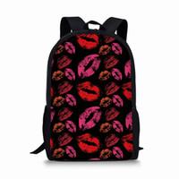 ingrosso borsa da cartone rosso-ThiKin Casual Daily Zaino Scuola Zaino College Satchel Borsa da viaggio Nero Sexy labbra labbra rosse stampate Zaini