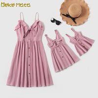 Wholesale mommy and me dresses resale online - Mother Daughter Dresses Summer Mom And Daughter Baby Girl Dress Striped Mommy And Me Clothes Set Mathing Family Outfits