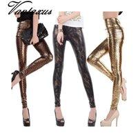 ingrosso gambali in spandex in pelle-gambali sottili Lady moda a vita alta Magro donne legging oro nero serpente pantaloni stampati di piccole dimensioni in ecopelle