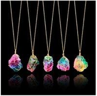 ingrosso ciondoli in oro avvolto-Collana con ciondolo di pietra di quarzo color oro - filo di metallo dorato avvolto con pietre preziose collane di cristallo per le donne (irregolare)
