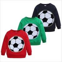 payet attırıcılar toptan satış-Bebek Giysileri Pullu Hoodies Geri Dönüşümlü Glitter Ceketler Erkek Futbol Futbol Dış Giyim Çocuklar Rahat Ceket Çocuk Kazak Tişörtü Jumper B4527