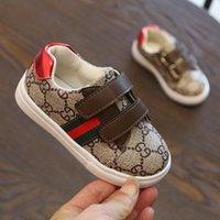 çizgili çocuklar toptan satış-Yenidoğan Toddler Yumuşak Sole Kanca Döngü Prewalker Sneakers Moda Çizgili Erkek Bebek Kız Beşik Ayakkabı