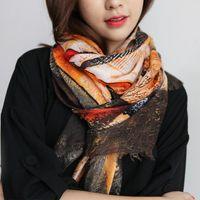 eşarp kore tarzı toptan satış-Kış kadın Kore tarzı kadın pamuk baskı moda yeni çok fonksiyonlu uzun eşarp, güzel kadın eşarp