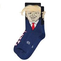 3d drôle achat en gros de-President Donald Trump Chaussettes Unisexe Drôle Impression Adulte Casual Chaussettes Crew Avec 3D Faux Cheveux Crew Chaussettes 4 styles MMA1946