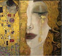 Wholesale fine art figure paintings for sale - Group buy Freya s Tears Classic Fine Art Gustav Klimt HUGE Oil Painting On Canvas Home Decor Handpainted HD Print Wall Art Canvas Pictures