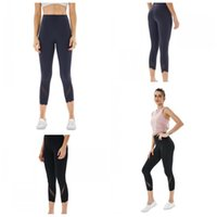 Wholesale cropped tight yoga pants resale online - LU Cropped Trousers Yoga Tights Pants Women High Waist Solid Color Splicing Leggings Sports Gym Outdoor Use lye H19