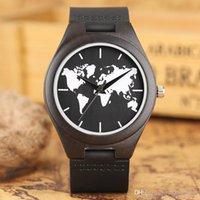 harita saatleri toptan satış-En Hediyeler Lüks Dünya Haritası Ahşap İzle Hakiki Deri Kayış Koyu Bambu Ahşap Kuvars Saatler erkek Moda relogio masculino Erkek Bilek